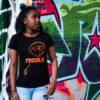 femme tee-shirt noir orange
