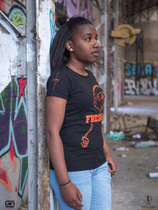 tee-shirt femme noir orange